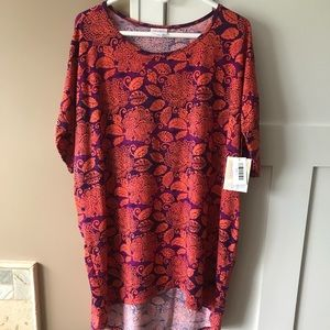 LulaRoe Large Irma Coral and Purple